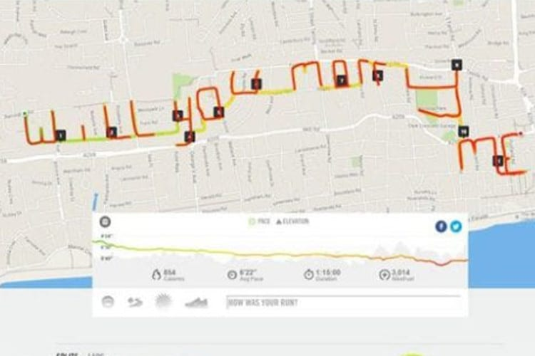 A GPS printout of a route that spells the words will you marry me