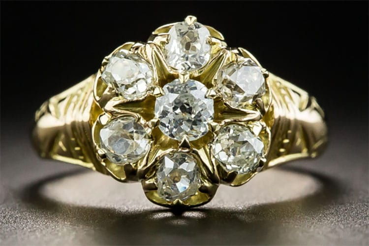 Lang Antiques 18K yellow gold old mine cut Victorian cluster ring.