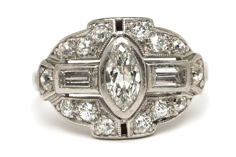 Gray & Davis 1930s Art Deco Ring with Marquise, baguette and round diamonds set into platinum