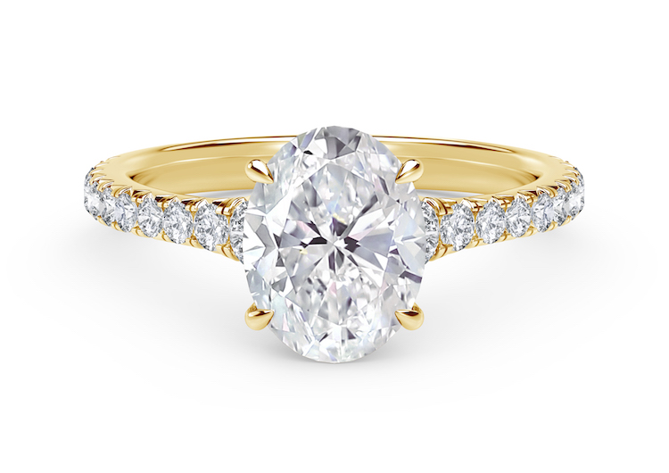 Forevermark Icon Setting Oval Engagement Ring with Diamond Band set in 18k Yellow Gold