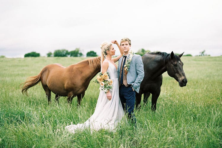 Country wedding theme couple