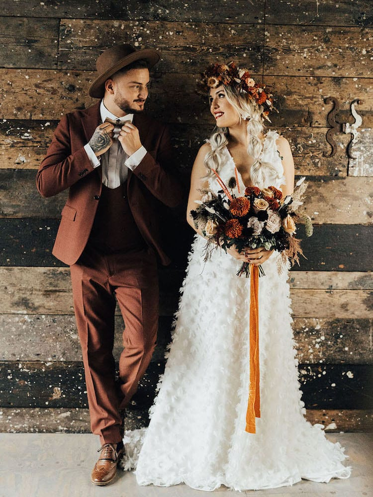 Rustic wedding theme couple