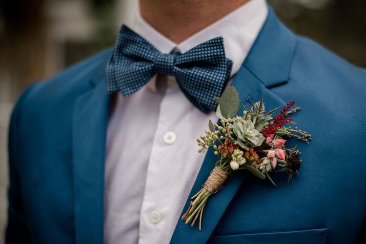 wedding day blue suit look