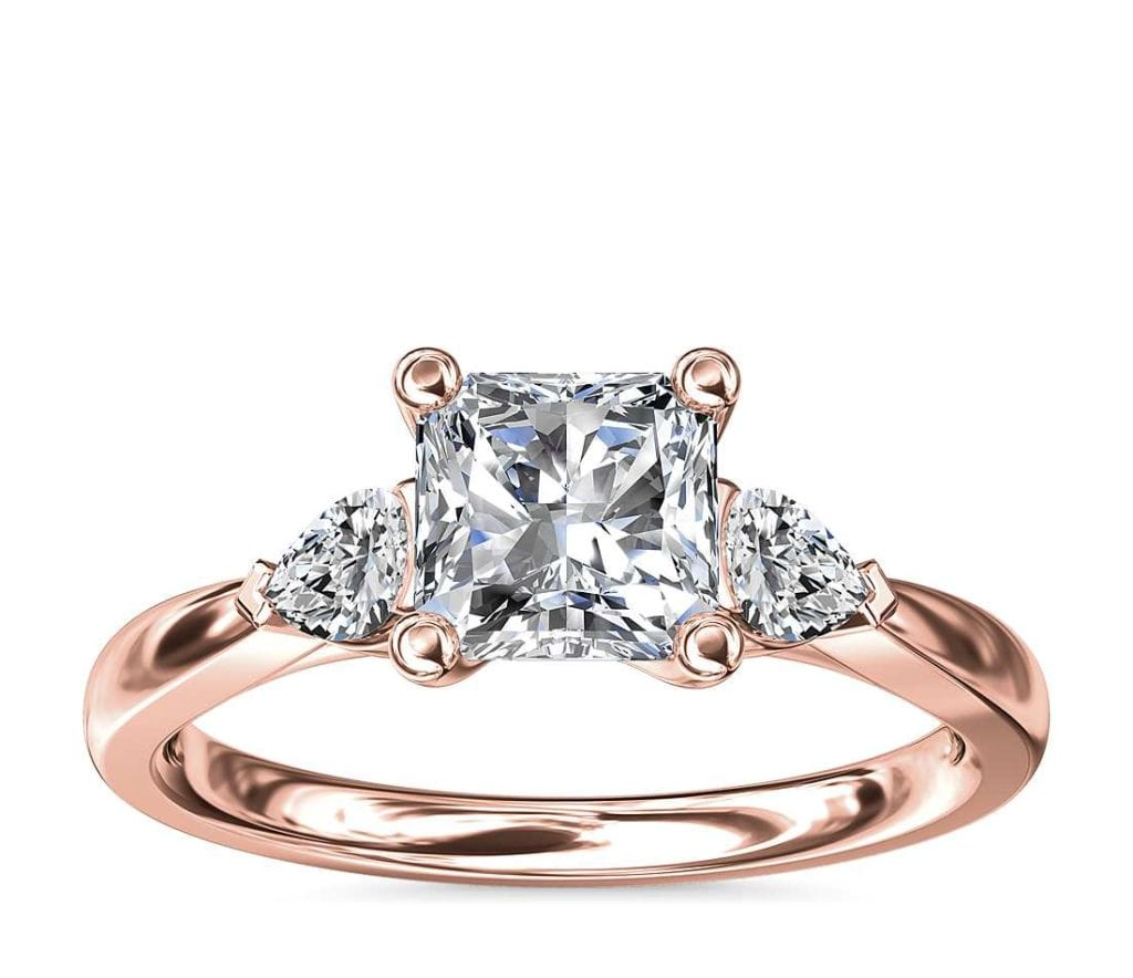 Blue Nile 18K Rose Gold Ring with 3-stone setting and pear-shaped diamonds